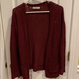 Maroon open front Abercrombie and Fitch cardigan